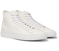 Tournament Full-grain Leather High-top Sneakers - White