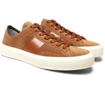 Cambridge Leather-trimmed Velvet Sneakers - Tan