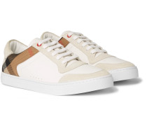 Leather, Suede And Checked Cotton Sneakers - White