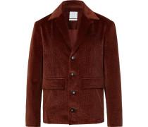 Burgundy Cotton-Blend Corduroy Blazer