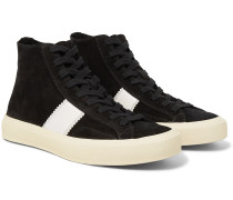 Cambridge Leather-Trimmed Suede High-Top Sneakers