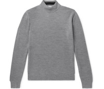 Slim-Fit Mélange Merino Wool-Piqué Rollneck Sweater