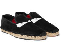Collapsible-heel Leather-trimmed Suede Espadrilles