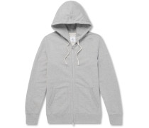 Slim-Fit Mélange Loopback Cotton-Jersey Zip-Up Hoodie