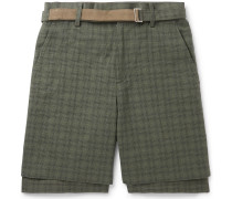 Belted Checked Cotton Shorts