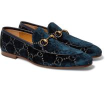 New Jordaan Horsebit Leather-trimmed Logo-embroidered Velvet Loafers - Navy