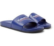 Logo-print Leather Slides - Blue