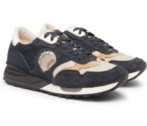 Roland Leather-trimmed Suede And Canvas Sneakers - Navy
