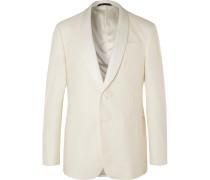 White Shawl-Collar Slub Silk and Wool-Blend Tuxedo Jacket