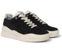 Leather-trimmed Suede Sneakers - Black
