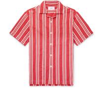 Camp-Collar Striped Cotton and Linen-Blend Shirt