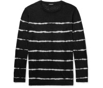 Slim-fit Tie-dyed Striped Linen T-shirt