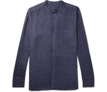 Slim-fit Grandad-collar Linen Shirt