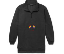 Oversized Panelled Embroidered Loopback Cotton-blend And Jersey Half-zip Sweatshirt - Charcoal