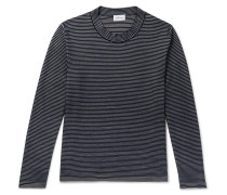 Slim-fit Striped Cotton And Silk-blend Sweater - Navy