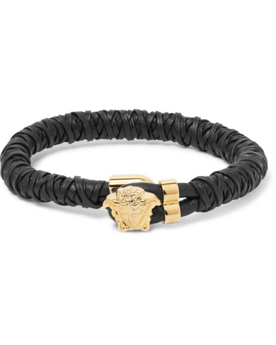 Woven Leather Gold-tone Bracelet - Black