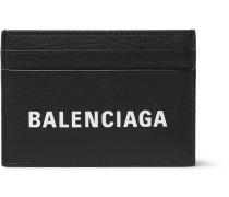 Logo-print Textured-leather Cardholder - Black