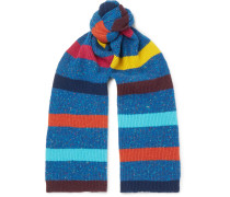 Striped Donegal Wool Scarf - Blue
