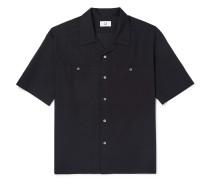 Camp-collar Cotton Shirt - Black