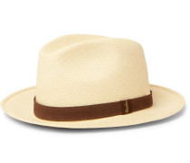 Country Suede-Trimmed Straw Panama Hat