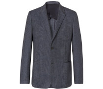 Navy Prince Of Wales Checked Wool And Cotton-blend Blazer