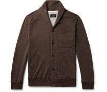 Slim-fit Shawl-collar Mélange Loopback Cotton Cardigan - Brown