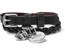 Woven Leather And Silver-tone Wrap Bracelet - Black