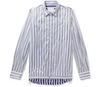 Layered Nylon And Striped Cotton-poplin Shirt - Blue