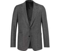 Dark-grey Soho Slim-fit Mélange Wool And Silk-blend Suit Jacket