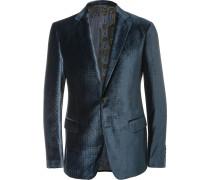 Blue Slim-fit Debossed Velvet Blazer