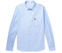 Logo-embroidered Cotton Oxford Shirt - Blue
