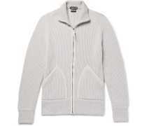 Slim-fit Suede-trimmed Ribbed Cashmere Zip-up Cardigan