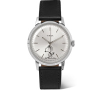 + Peanuts Marlin Automatic Stainless Steel And Leather Watch - Silver