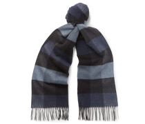 Fringed Checked Silk Scarf