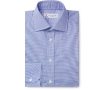 Navy Slim-Fit Cutaway-Collar Micro-Gingham Cotton-Poplin Shirt