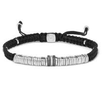 Macramé And Rhodium-plated Sterling Silver Bracelet - Black