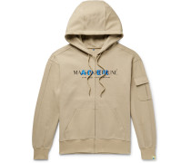 + Ader Error Oversized Logo-print Cotton-blend Jersey Zip-up Hoodie - Beige