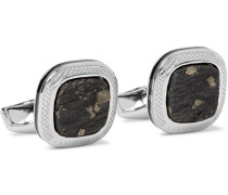 Rhodium-plated, Slate And Pyrite Cufflinks - Silver