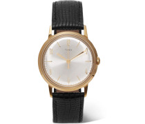 Marlin Hand-wound 34mm Gold-tone And Textured-leather Watch - Silver