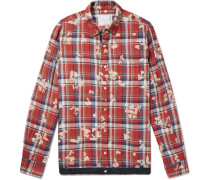 Shell-trimmed Bleached Checked Linen Shirt