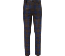 Slim-fit Checked Wool And Silk-blend Trousers - Navy