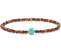 Beaded Tiger's Eye, Turquoise And Sterling Silver Bracelet