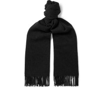 Canada Fringed Mélange Wool Scarf - Black