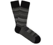 Crochet-knit Cotton-blend Socks