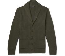 Slim-fit Shawl-collar Wool-blend Cardigan - Dark green