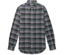 Slim-fit Button-down Collar Checked Brushed Cotton-flannel Shirt - Green