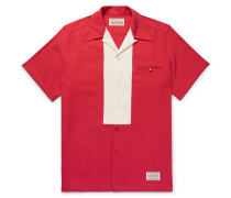 Camp-collar Two-tone Tencel And Cotton-blend Twill Shirt - Red