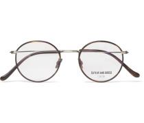 Round-frame Brushed Gunmetal-tone And Tortoiseshell Acetate Optical Glasses - Clear