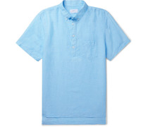 Button-down Collar Slub Linen And Tencel-blend Shirt - Blue