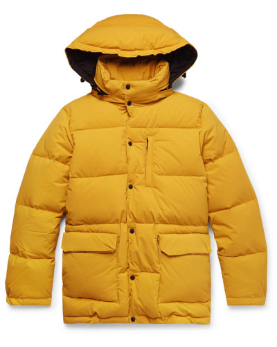 Quilted Nylon Hooded Down Jacket - Yellow